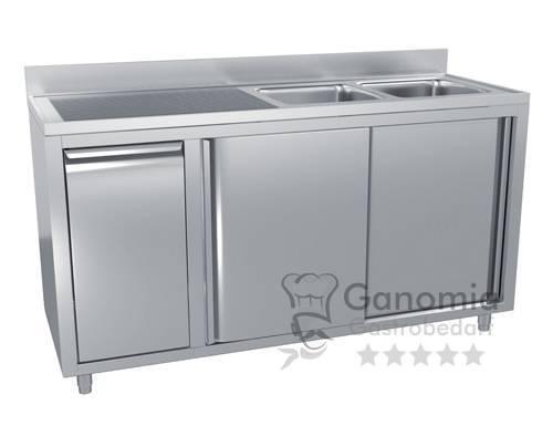 Edelstahl Spülschrank mit 2 Becken rechts 200 x 70 cm mit Abfallbehälter