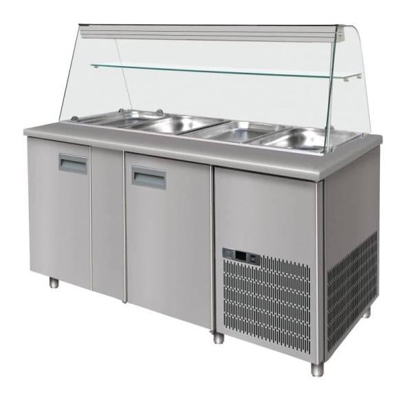 Saladette 2 Türen 440 Liter mit Glasaufsatz