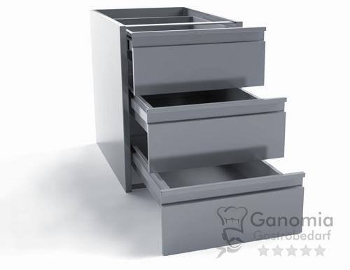 Schubladeneinsatz mit 3 Schubladen für Edelstahltische 60 cm Tiefe