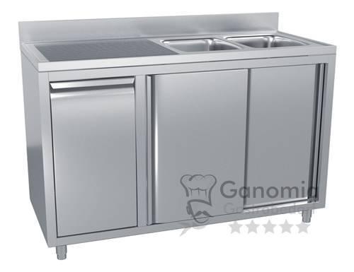 Edelstahl Spülschrank mit 2 Becken rechts 140 x 70 cm mit Abfallbehälter