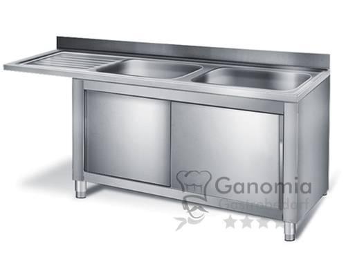 Edelstahl Spülmaschinenschrank mit 2 Becken rechts 200 x 60 cm