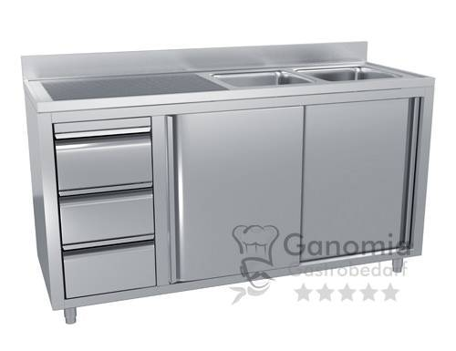 Edelstahl Spülschrank mit 2 Becken rechts 160 x 70 cm mit 3 Schubladen