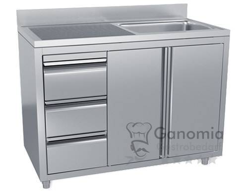 Edelstahl Spülschrank mit 1 Becken rechts 120 x 60 cm mit 3 Schubladen