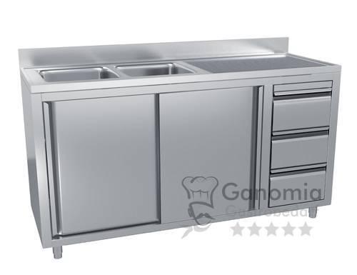 Edelstahl Spülschrank mit 2 Becken links 200 x 70 cm mit 3 Schubladen