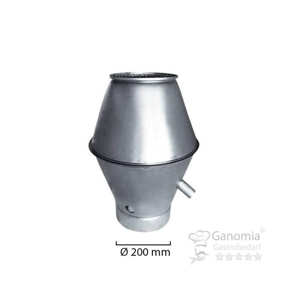Deflektorhaube rund mit 200 mm Durchmesser und Gitter