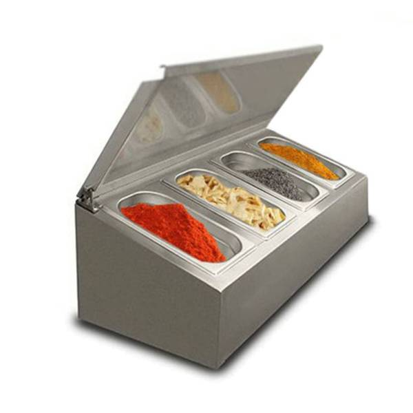 Edelstahl Aufsatzbord ungekühlt 4x 1/4 GN 800x311x264 mm