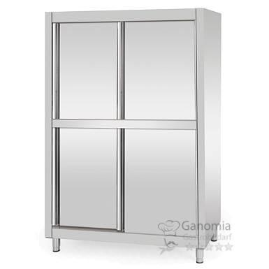 Geschirrschrank Edelstahl mit 4 Schiebetüren 1,4 m x 1,8 m