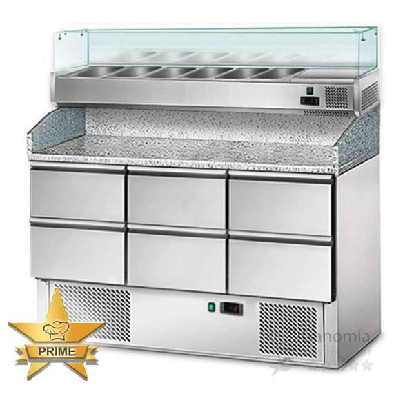 Pizzakühltisch 6 Schubladen Kühlaufsatz und Granitarbeitsplatte