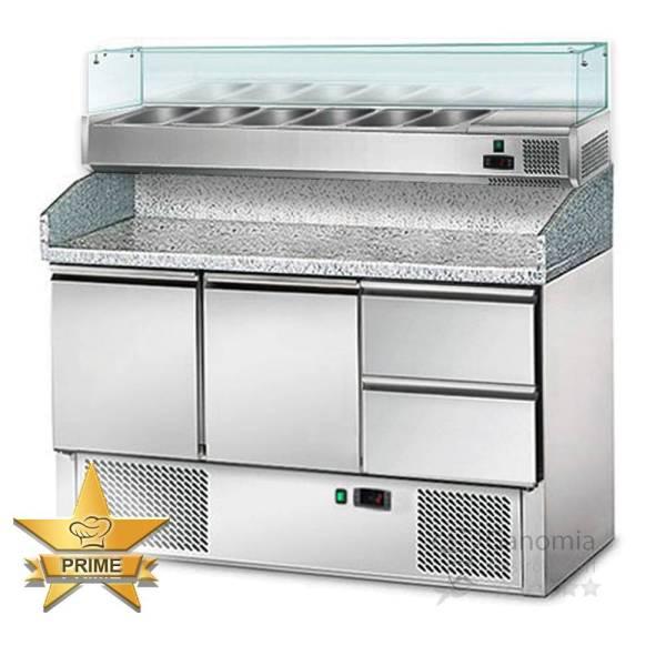 Pizzakühltisch 2 Türen 2 Schubladen Edelstahl mit Kühlaufsatz