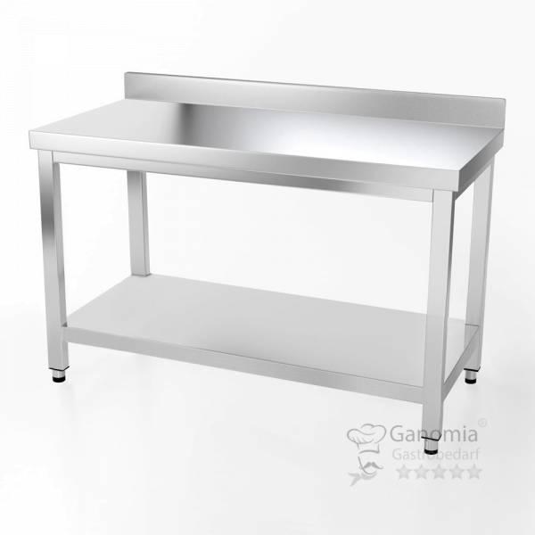 Edelstahl Tisch mit Unterboden Regal in 60 cm tiefe auf 160 cm länge mit Aufkantung