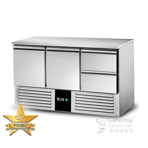 Kühltisch Gastronomie aus Edelstahl mit 2 Schubladen und 2 Türen