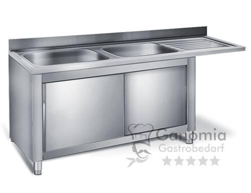 Edelstahl Spülmaschinenschrank mit 2 Becken links 200 x 60 cm