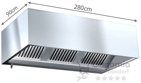 Kastenhaube 280 x 90cm mit Filter und Beleuchtung