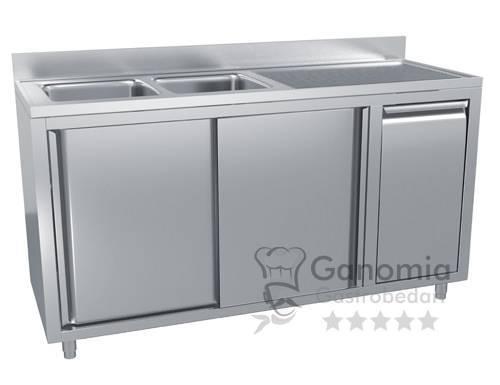Edelstahl Spülschrank mit 2 Becken links 200 x 70 cm mit Abfallbehälter