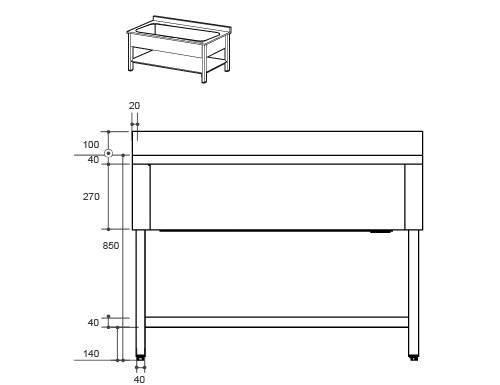 Technische Zeichnung Edelstahl Waschbecken
