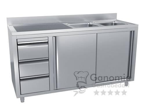 Edelstahl Spülschrank mit 2 Becken rechts 200 x 60 cm mit 3 Schubladen