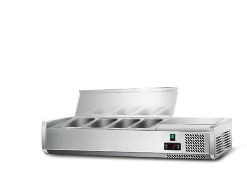 Kühlaufsatz mit Edelstahlklappe für 4x GN 1/3 Behälter