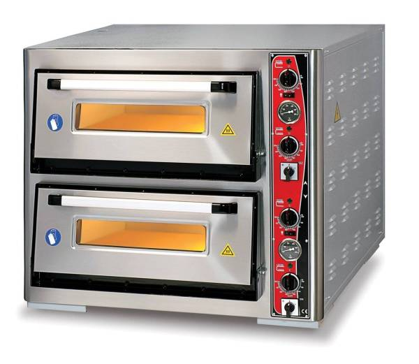 Pizzaofen Doppelkammer 8x Ø 34 cm Thermometer