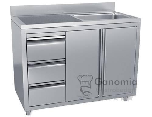 Edelstahl Spülschrank mit 1 Becken rechts 120 x 70 cm mit 3 Schubladen