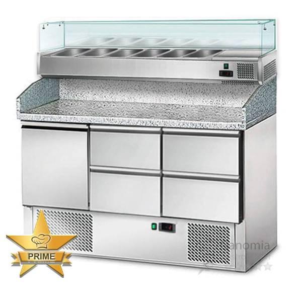 Pizzakühltisch mit 4 Schubladen 1 Tür und Granitarbeitsplatte und Kühlaufsatz
