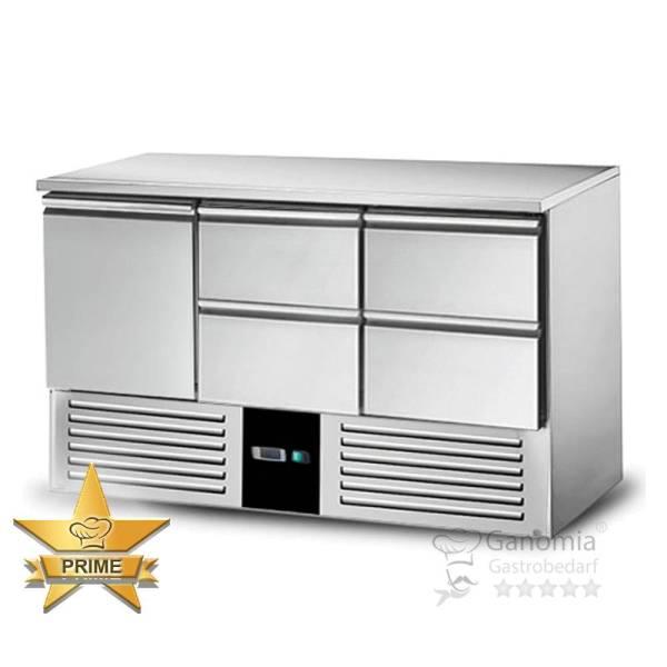 Kühltisch Gastronomie aus Edelstahl mit 4 Schubladen und 2 Türen