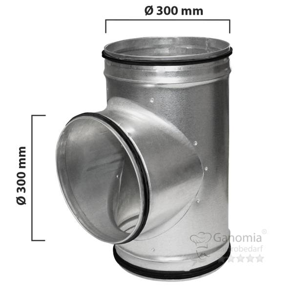 T-Stück Lüftungsrohr mit 300 mm Durchmesser und Gummilippen