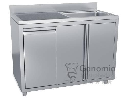 Edelstahl Spülschrank mit 1 Becken rechts 120 x 70 cm mit Abfallbehälter