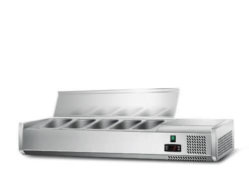 Kühlaufsatz mit Edelstahlklappe für 5x 1/4 GN Behälter