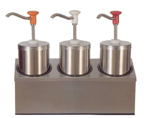 Soßenspender Zylindrischer Edelstahl-Pumpspender 3 x 2,25 Liter