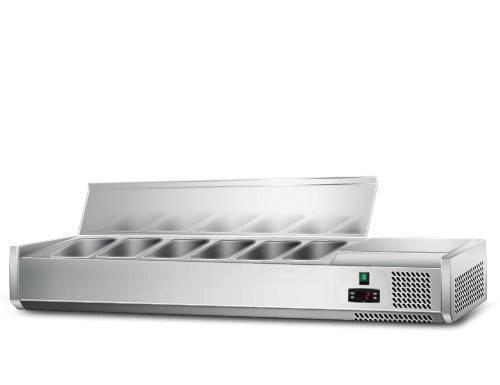 Kühlaufsatz mit Edelstahlklappe für 6x 1/4 GN Behälter