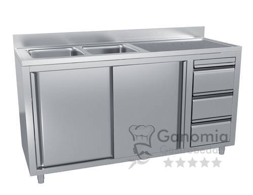 Edelstahl Spülschrank mit 2 Becken links 160 x 60 cm mit 3 Schubladen