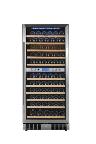 Gastro Weinkühlschrank aus Edelstahl 112 Liter für 112 Flaschen