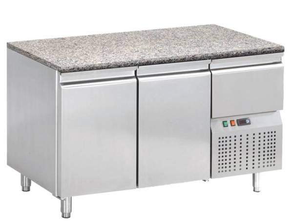 Kühltisch mit Granitarbeitsplatte 2 Türen 1 Schublade 147 x 74 x 75 cm