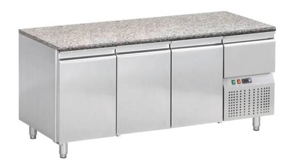 Kühltisch mit Granitarbeitsplatte 3 Türen 1 Schublade 198 x 72 x 85 cm