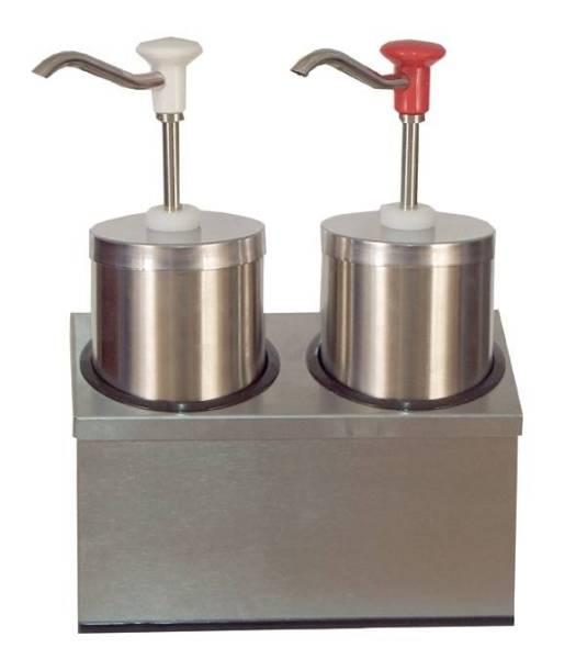 Soßenspender Zylindrischer Edelstahl-Pumpspender 2 x 2,25 Liter