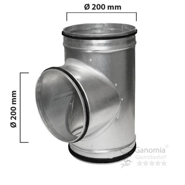 T Stück Lüftung mit 200 mm Durchmesser und Gummilippen