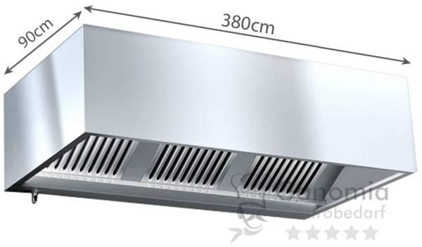 Kastenhaube 380 x 90cm mit Filter und Beleuchtung