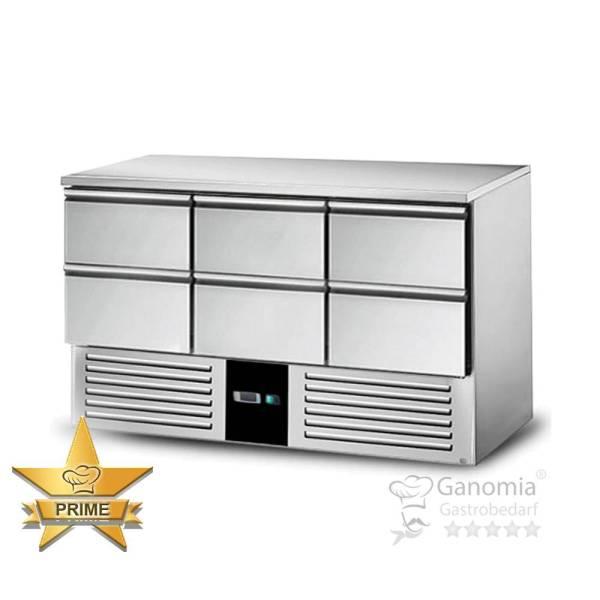 Kühltisch Gastronomie aus Edelstahl mit 6 Schubladen