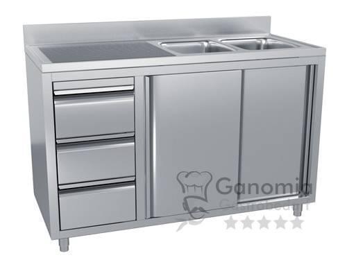 Edelstahl Spülschrank mit 2 Becken rechts 140 x 70 cm mit 3 Schubladen