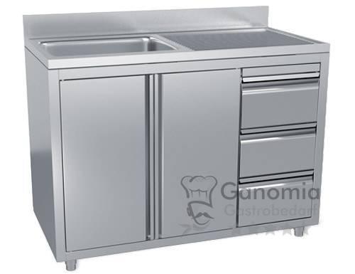 Edelstahl Spülschrank mit 1 Becken links 120 x 70 cm mit 3 Schubladen
