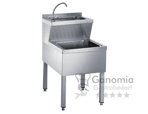 Edelstahl Handwaschausgussbecken mit Mischbatterie 50 x 70 x 90 cm