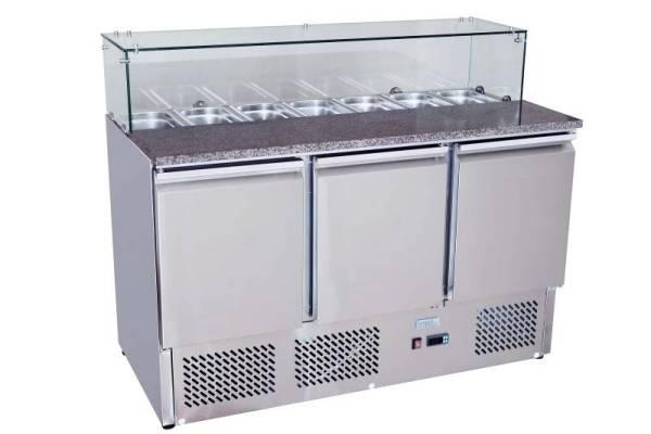 Saladette mit Glasabdeckung 3 Türen 380 Liter