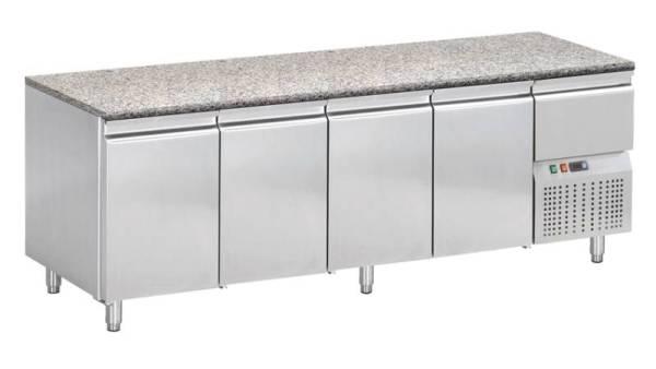 Kühltisch mit Granitarbeitsplatte 4 Türen 1 Schublade 249 x 72 x 85 cm
