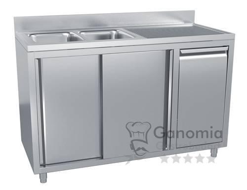 Edelstahl Spülschrank mit 2 Becken links 140 x 70 cm mit Abfallbehälter